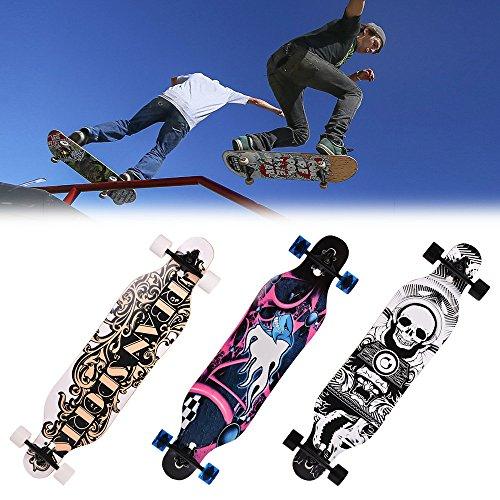 ts Professionelle Longboard Skateboard Erwachsene Kinder Holz Drucken Longboard Anfänger Skateboard Komplettboard Komplettboard Drop-Through Cruiser Board Mit ABEC 9 High Speed Kugellager T-Tool 104 x 23 x 10CM (Tierhautmuster) (Foto Cutout-board)