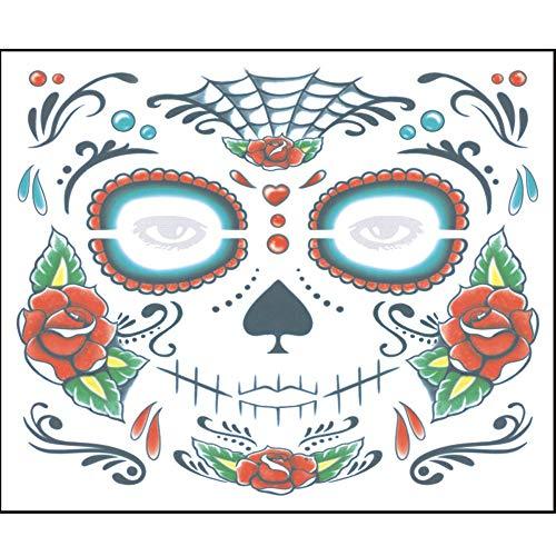 Prevently Halloween Masken, 2 STÜCKE Halloween Masken Festival Party Cosplay Halloween Gesicht des Todes Tag der Toten Dia de los Muertos Gesichtsmaske Zuckerschädel Tattoo Schönheit (Colour C)