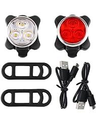 Siensync Wiederaufladbare LED Fahrradlampe, 350lm USB wiederaufladbare Fahrradlampe Set, Frontlicht + Rücklicht + 2 USB Kabel, 4 Licht Modi
