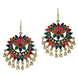 b7b4e0be46e ... Jaipur Mart Festive Special Multi Color Gold Plated Afghani Earrings