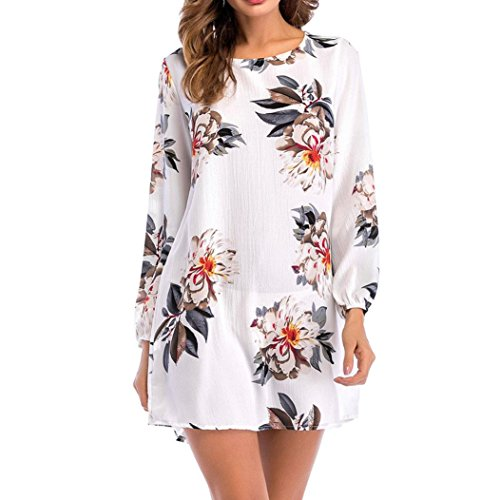 Damen Print Kleid Yesmile Damen Casual Bow Full Sleeve Hals Gedruckt Maxi Kleid mit Gürtel Asymmetrische Damen Elegant Knie Kleid O-Neck Casual Polyester Kurz Kleid Party Kleider Mini Solid Casual Hals Bedruckt Maxi Dress Casual Langarm Print Floral Ladies O-Neck Bow Mini Dress (2XL, weiß) (Button Sleeve Plaid)