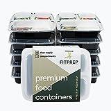 [10er Pack] Original FITPREP® 3-Fach Meal Prep Container | Modell 2017 - stabil, verstärkt, qualitativ hochwertig | Stapelbar, Wiederverwendbar, Spülmaschinenfest, Mikrowellen-, Gefrierschrankgeeignet
