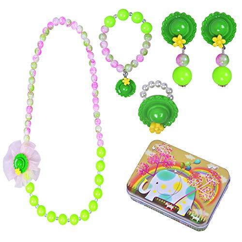 Larcenciel Kinder Schmuck Halskette Armband Ring Ohrring Set, 5 Stück Blumen Anhänger Bubblegum Kette Schmuck Lagerung für kleine Mädchen spielen vorgeben Dress Up in Cartoon-Zinn-Box (Grüner ()