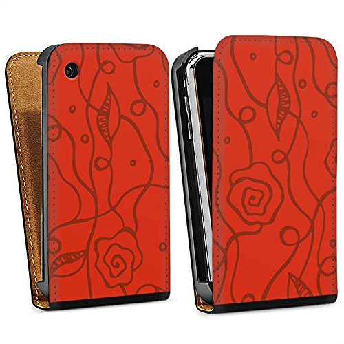 Apple iPhone 4 Housse Étui Silicone Coque Protection Fleurs roses Amour Rouge Sac Downflip noir