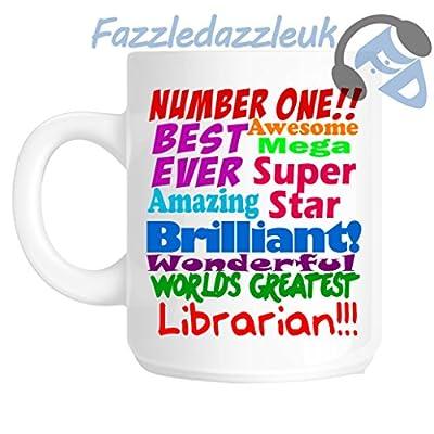 Bibliotecario número uno 1mejor nunca impresionante Mega Superstar Amazing Brilliant maravilloso mundo del mayor bibliotecario gracias jubilación Navidad regalo taza
