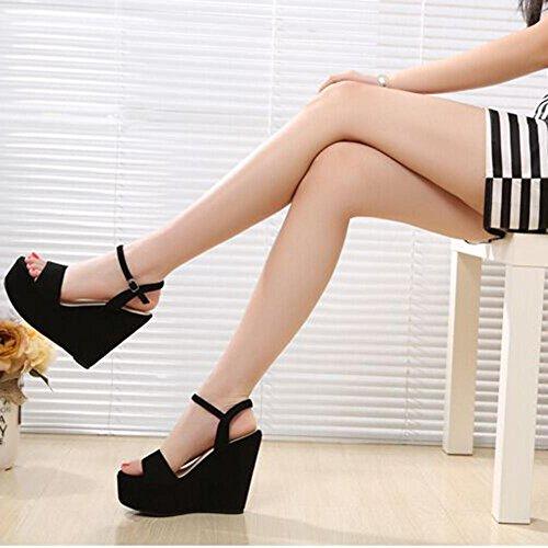 Pattini casuali delle scarpe da donna delle donne dei sandali delle signore delle donne di estate, nero black 12 cm