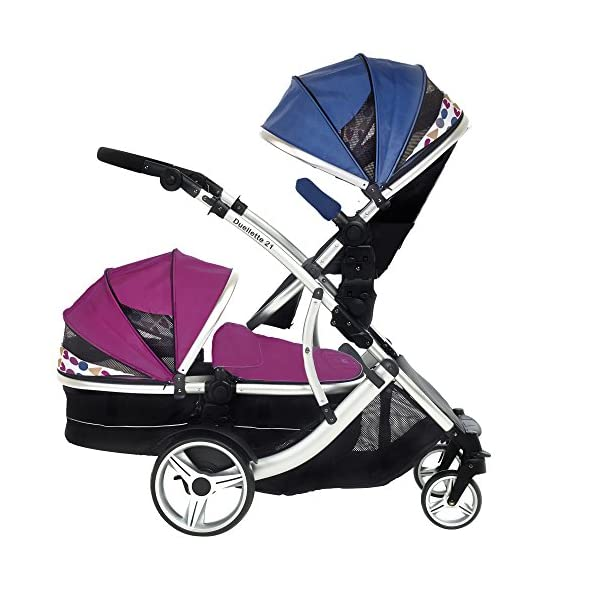 Kids Kargo Duellette 21 BS Combi Tandem Double Twin pushchair NEW COLOUR RANGE! (Raspberry carrycot - newborn/Blueberry seat - toddler 6mth +) Kids Kargo Ideal for newborn baby girl and and older son (6mth+) Various seat positions. Accommodates 1 or 2 car seats Carrycot (raspberry) converts to seat unit incl mattress. Toddler seat (blueberry) from 6 months 3