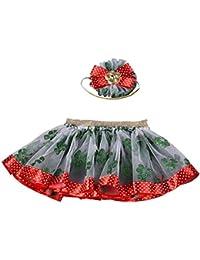 Kobay 2 STÜCKE Baby Mädchen Weihnachten Mesh Tutu Ballett Prinzessin Fancy Party Röcke + Haarband/Stirnband-Set