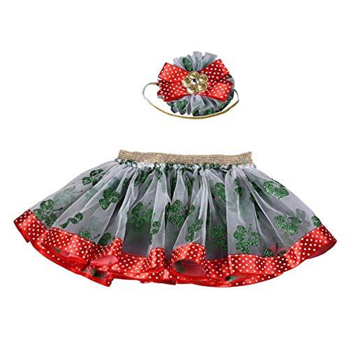 Kobay 2 STÜCKE Baby Mädchen Weihnachten Mesh Tutu Ballett Prinzessin Fancy Party Röcke + Haarband/Stirnband-Set(2-3T,Grün-1)