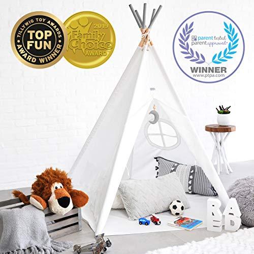 Hippococo tenda da campeggio teepee pieghevole per bambini e bambine | area gioco per bambini per esterno e interno in tela, con tappeto, accessorio decorativo incluso - ebook in omaggio (grigio)