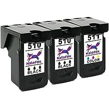 HaloFox 3 Cartuchos de tinta PG-510 CL-511 para Canon PIXMA MX350 MX360 MX320 MP499 MX340 MX410 MX420 iP2700 iP2702 MP230 MP240 MP250 MP252 MP260 MP270 MP272 MP480 MP280 MP282 MP490 MP492 MP495 MX330 Impresora (2 Negro & 1 Tri-color)