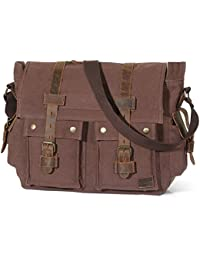 "Lifewit 17"" Vintage Military Leather Canvas Laptop Bag Messenger Bags"