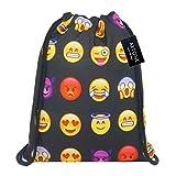Artone Emoji Drawstring Bag Travel Daypack Sports Portable Backpack Black