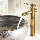 DESON Wasserhahn Antike Messing Einhebelmischer Bad Waschbecken Wasserhahn Heißen und Kalten Wasser Becken Design Armaturen Bambusrohr - FG 1041