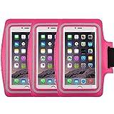 Universal Sportarmband für 14,5cm Bildschirm Apple iPhone 6/6S iPhone 6/6S Plus Samsung Galaxy S7/S6/S5/S4Schweiß-Running Armbelt mit kleinen Halter & Tasche für Schlüssel Karte, armband pink 3pack