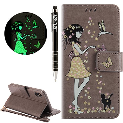 Custodia iPhone X, iPhone X Cover Wallet, SainCat Custodia in Pelle Flip Cover per iPhone X, Ultra Sottile Anti-Scratch Book Style Custodia Morbida Cover Protettiva Caso PU Leather Custodia Libretto A Grigio