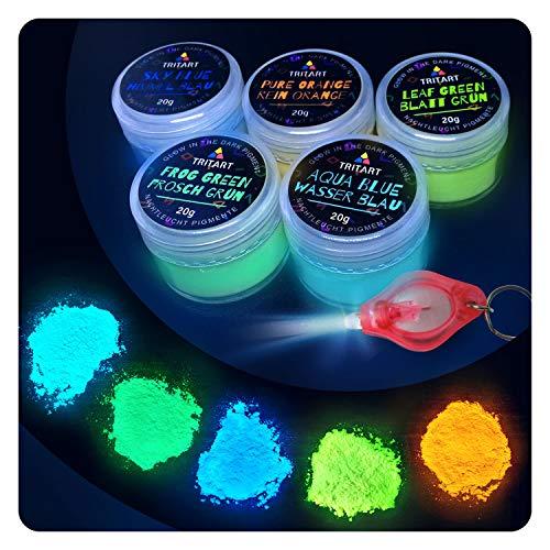 Tritart Fluoreszierendes Pulver Selbstleuchtend | 5 x 20g Nachtleuchtende Pigmente | Leuchtpulver Set mit GRATIS UV Lampe (Glow In The Dark-licht-lampe)