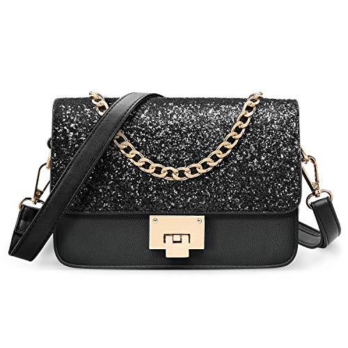 SOOHAO Kleine Tasche Umhängetasche Damen Mode Handtasche für Mädchen Damentaschen Leder Schultertasche Glitzer Clutch mit Abnehmbarem Riemen und Henkel für Party -
