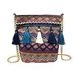 Gaddrt Vintage Stroh Damen Schultertasche Weben Quaste Messenger Crossbody Beach Bag, Violett