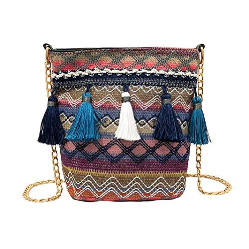 Gaddrt Vintage Stroh Damen Schultertasche Weben Quaste Messenger Crossbody Beach Bag, ()