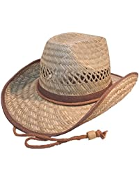 Adults Straw Cowboy Hat with Shapeable Wire Brim.