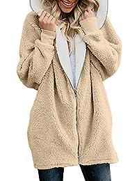 REFURBISHHOUSE Donne di Moda Agnello Lana Zip Up in Pile con Cappuccio  Cardigan Caldo Giacca Aperta 07096e792c5