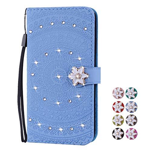 V-Ted Flip Case Lederhülle kompatibel für Samsung Galaxy A50 Hülle Leder mit Muster Mandala Henna Blau Handytasche Ledertasche klapphülle Wallet Cover Tasche Etui - Pink Henna