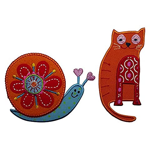 Cat 4X10cm Snail 8x7cm iron-on designer patch used for jeans clothing fabric gifts crafts to iron on iron on patches personally clothes birthday christening birth application sports football club city kids sew on plate dresses jacket backpack scarf to personalize gifts for wall decorating sewing arts creative decoration fabric mend clothes room nursery boy girl children iron on patches idea personalise wall decorating sewing arts creative decoration fabric mend clothes room nursery b