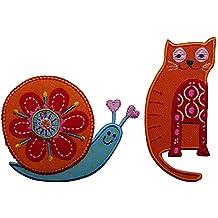 Cat 4X10Cm 8X7Cm Lumaca Gatto su tessuto arancione, con applicazione in tessuto colore rosso e ricami bianco e rosa, con ricami per definire le forme. Pupazzo di neve su tessuto bianco, sciarpa ricamata rossa e cappello blu con fiori e mani blu, cuciture per definire