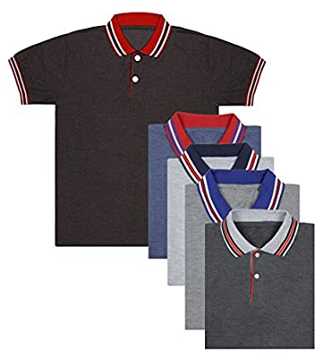 London Looks Multi Color Polo Neck T-Shirts Combo Of 5