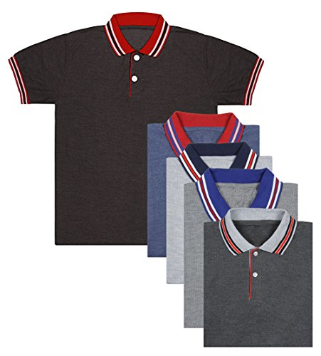 London-Looks-Multi-Color-Polo-Neck-T-Shirts-Combo-Of-5