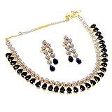 Jewar Mandi Gemstone Blue Sapphire fine Two Tone Plated CZ FINE TANISHQ Stylish Pave AD Jewelry 4520 for Womens Girls