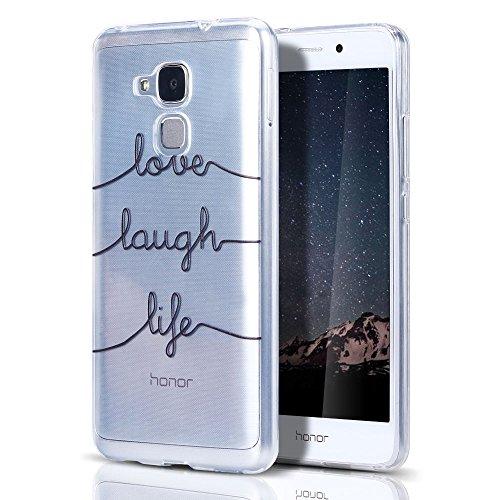 """Huawei Honor 5C/GT3 Hülle, CaseLover Ultradünner Transparenter Tasche Schutzhülle, Honor 5C/7 Lite/Huawei GT3 5.2"""" Weiche TPU Handyhülle Stoßdämpfende Schale Fall Case Shell, Abgekürztes Englisch"""