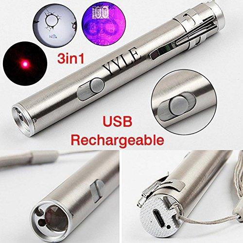 Mini USB wiederaufladbare 3 in1 LED UV Taschenlampe Taschenlampe Multifunktionslampe für Katzenspielzeug