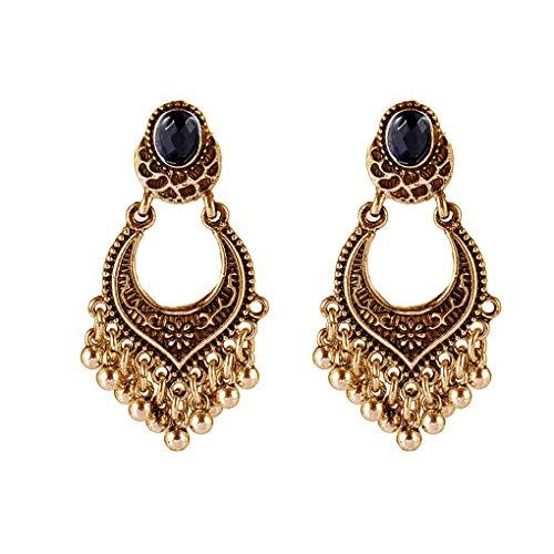 Meisijia Frauen Retro Ethnic-Tropfen-Ohrringe Mädchen Antike Perlen Quaste Bohemian Wassertropfen baumeln - Mädchen Mit Perlenohrring Kostüm