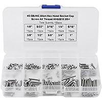 150 Unids 9 Tamaños # 2-56 UNC Kit de Tornillos de Cabeza Hexagonal con Caja de Almacenamiento de Plástico