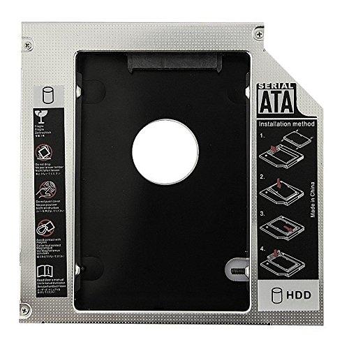 SODIAL(R) Heisser Verkauf Universell Aluminium 12.7mm SATA 2.0 2. HDD Behaelter 2.5 Zoll HDD Gehaeuse SSD Einschliessung fuer Notebook 12.7mm ODD DVD-ROM Optibay