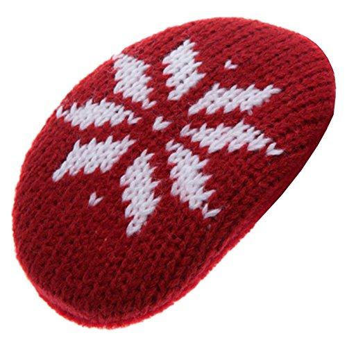Earbags Fashion Ohrenwärmer Ohrenschützer Mütze Stirnband Warme Ohren Original Strick Fell Leder, Farbe Schneeflocke weinrot, Größe L
