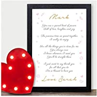 PERSONALISED Love Poem Keepsake Valentines Day Gifts Presents for Him Her Mr Mrs - PERSONALISED ANY NAMES for Anniversary, Birthday - Black or White Framed A5, A4, A3 Prints or 18mm Wooden Blocks