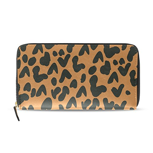 d25df3576a COOSUN Leopard Print PU Leather Large Capacity Wallet Card Holder Organizer  with Zipper Clutch Purse For