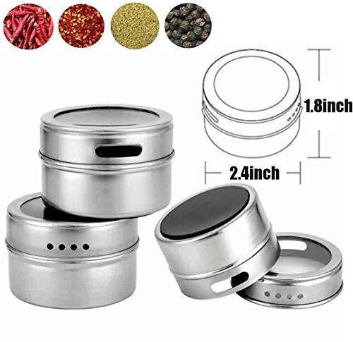 SHUPING Magnetische Gewürzgläser Siegel Spice Box Kitchen Seasoning Jar Kühlschrank Aufbewahrungs Box Multifunktional Magnetglas 4 Stück/Set - Für Magnetische Abdeckungen Kühlschränke