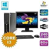 Pack PC HP Compaq 6200 Pro SFF Core i3 3.1GHz 8gb 240Go DVD WIFI W7 + Bildschirm 22