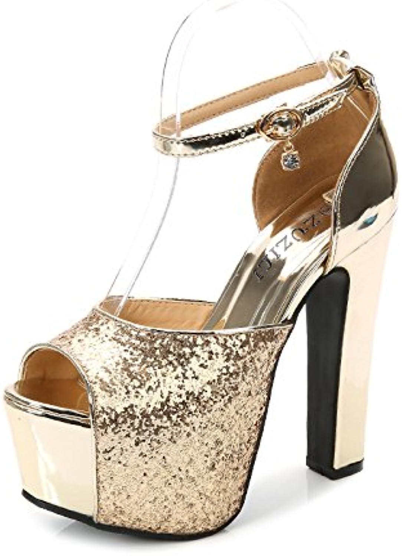 XiaoGao Lentejuelas de plata hebilla Zapatos de tacones altos de banquete de 15 centímetros,Golden -
