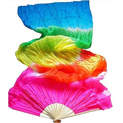 Tanzkostüm Bunte - 1.8m Lange Seidenfächer Veil Silk Fan Bambus-Griff für Frauen Tanzkostüm(Mehrfarbig)