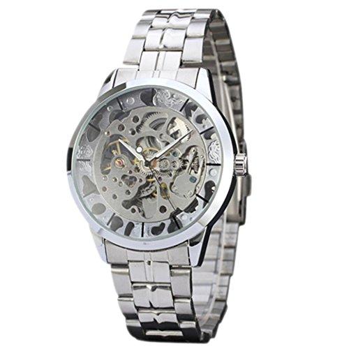 Montre mécanique par Gaddrt, marque supérieure Luxe creux Quartz analogique squelette horloge automatique homme montre (Argent)