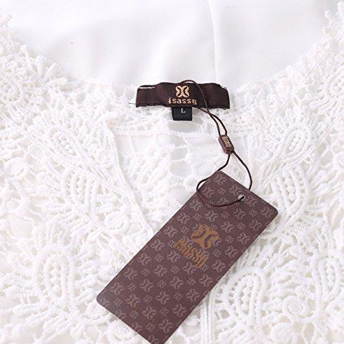 ISASSY Robe Plage Sans Manches Plissée Uni Crochet Mousseline de Soie Femme Blanc