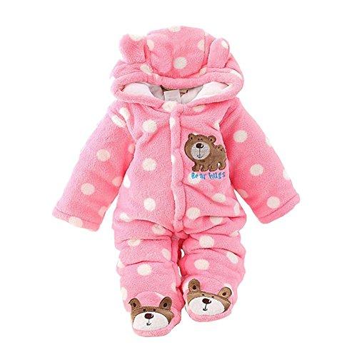 Baby Overall Baywell Lange Ärmel Bär Muster Unisex Warme Hoodie Strampler Onesie mit Punkte (Rosa1, XL/9-12 Monate) (Lange Flanell Ärmel)