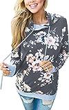 Angashion Damen Hoodies Langarm Kapuzenpullover-Blumenmuster Casual Sweatshirt Pullover Bluse Oberteile- Gr. EU S(34), Dunkelgrau