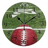 Reghhi Round Orologio da Parete American Football Acrylic Creative Decorative for Living Room/Kitchen/Bedroom/Family