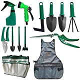 Garden Tools Set Hand Tool Gifts Set 13 Pieces Heavy Duty Gardening Kit With Garden Tote Bag, Canvas Apron,Pruning Shears - Best Gift For Gardener Father's Day